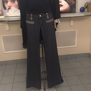 Grey and black raised striped pants
